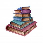 Watercolor Illustration Of Old Books. Original Hand Drawn Old Closed School Books Isilated On White  poster