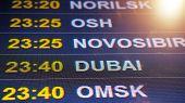 Electronic Scoreboard Flights And Airlines. Destinations: Norilsk, Osh, Novosibirsk, Dubai, Omsk. Ai poster