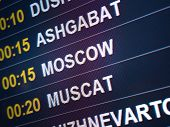 Electronic Scoreboard Flights And Airlines. Destinations: Ashgabat, Moscow, Muscat. Airport Flight I poster