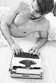 Writer Author Used Old Fashioned Machine Instead Of Digital Gadget. Morning Inspiration Concept. Why poster