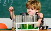 Kid Study Chemistry. Biotechnology And Pharmacy. Genius Pupil. Education Concept. Experimenting With poster