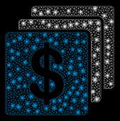 Glossy Mesh Finances With Glare Effect. Abstract Illuminated Model Of Finances Icon. Shiny Wire Carc poster