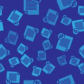 Blue Transfer Files Icon Isolated Seamless Pattern On Blue Background. Copy Files, Data Exchange, Ba poster