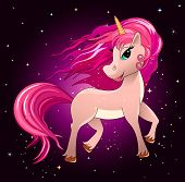 Unicorn Against The Background Of The Night Sky And Stars. Unicorn With A Pink Mane. poster
