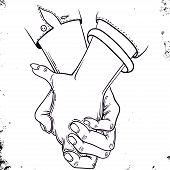 Hand Drawn Sketch Of Handshaking - Vector Illustration. Friendly Handshake. Hand In Hand. Newlyweds  poster