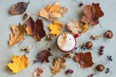 Cup Of Coffee With Milk, Cappuccino Among Autumn Colorful Faded Leaves, Acorns, Chestnuts, Nuts. Con poster