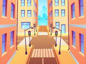 City Crossroad With Crosswalk. Urban Intersection Traffic Lights, Town Street Crossroads And Road Ju poster
