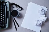 Literature, Author And Writer, Writing And Journalism Concept: Typewriter, Cup Of Coffee And Glasses poster