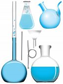image of retort  - A set of chemical retorts and flasks - JPG
