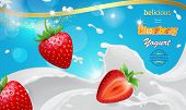 Vector Realistic Strawberry Yogurt Ads. Red Strawberries In White Milk Pouring Splashes Advertising poster