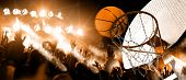 Hoop And Ball Illuminated By The Spotlights. Competition And Sport Event. Public And Crowd Applaudin poster