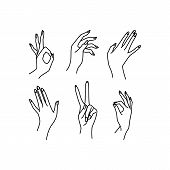 Womans Hand Collection Line. Vector Illustration Of Female Hands Of Different Gestures - Victory, Ok poster