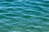 Rippled Ocean Surface. Blue And Green Coloured Rippled Ocean Surface With Shadows. poster
