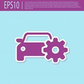 Retro Purple Car Service Icon Isolated On Turquoise Background. Auto Mechanic Service. Mechanic Serv poster