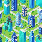 Building Skyscraper In Cityscape Vector City Skyline And Business Officebuilding Of Commercial Compa poster