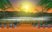 Landscape Of Wooden Walkway At The Swamp In The Morning poster