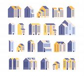 Minimal Apartment Houses. Residential Buildings, Urban City Homes, Town Graphic. Architecture Flat V poster