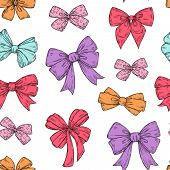 Bows Pattern. Fashion Tie Bows Accessories Sketch Doodles Tied Ribbons. Holiday Seamless Vector Wall poster