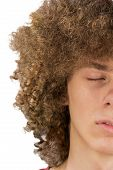 Splited In Half Cropped Portrait Of A Young Curly European Man With Long Curly Hair And Closed Eyes poster