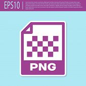 Retro Purple Png File Document Icon. Download Png Button Icon Isolated On Turquoise Background. Png  poster