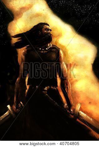 Постер, плакат: Воин фэнтези живопись, холст на подрамнике