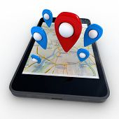 Smart phone with map and geolocation. 3d rendering image with clipping path