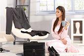 foto of pyjama  - Sleepy businesswoman getting ready for work in morning - JPG