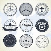 picture of yoke  - Set of vintage aviation labels - JPG