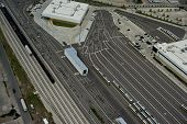 picture of railroad yard  - aerial view of Dallas light transit rail yard - JPG