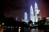 stock photo of klcc  - Night view of the Petronas Twin Tower also know as KLCC - JPG