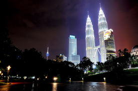 picture of petronas twin towers  - Night view of the Petronas Twin Tower also know as KLCC - JPG