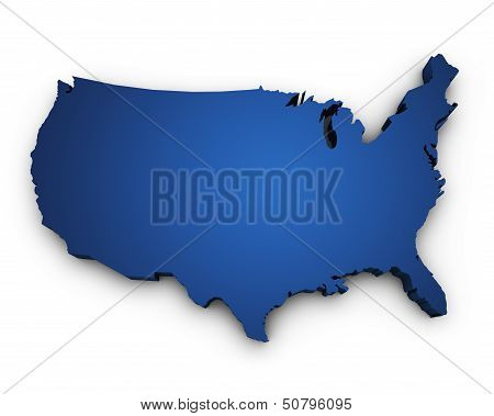 Map Of Usa 3D Shape poster