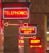 Red Neon Sign Indoor Depot Signage Arrow Points Baggage Telephones