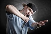stock photo of rapper  - Rapper attitude rap singer hip Hop Dancer performing - JPG