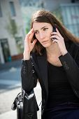 Business woman calling phone - problems