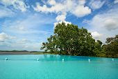 pic of infinity pool  - Infinity swimming pool in beautiful landscape on sunny day - JPG