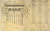 picture of ionic  - detail of ionic column and three columns on background of ancient paper - JPG