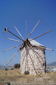 picture of gumbet  - Aegean style old mills in Bodrum Turkey - JPG