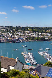 stock photo of dartmouth  - Boats and yachts in Dartmouth harbour Devon on the River Dart Kingswear side  - JPG