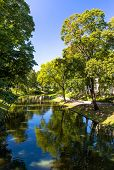 Riga Canal In Summertime, That Flows Through Bastion Park (bastejkalns). Latvia