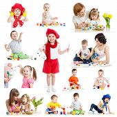 stock photo of baby easter  - Group of kids or children paint with brush or fingers - JPG