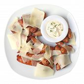 picture of collate  - A white dish with roasted sausages to beer with parmesan and tartar sauce isolated on a white background. Top view. ** Note: Soft Focus at 100%, best at smaller sizes - JPG