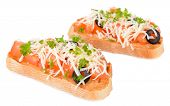 Delicious bruschetta with tomatoes isolated on white