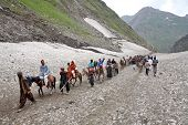 AMARNATH, JAMMU AND KASHMIR, INDIA - JULY 18, 2006: Pilgrimage to the holy Amarnath cave in Kashmir
