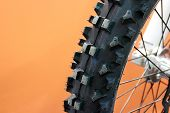 Motocross Bike Tyre In Closeup And Isolated