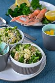 stock photo of norway lobster  - Broccoli salad with pearl barley and Norway lobster - JPG