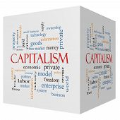 Capitalism 3D Cube Word Cloud Concept