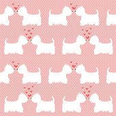 foto of scottish terrier  - Seamless pattern with cartoon dogs silhouettes on polka dot background - JPG