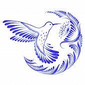 stock photo of colibri  - hand drawn illustration in Ukrainian folk style - JPG