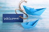 pic of boat  - Label with Welcome and Boats blue Nautical Background - JPG
